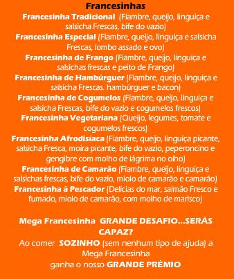 Cardápio francesinhas